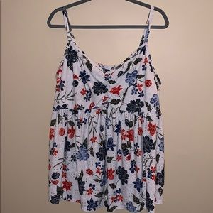 Torrid size 3 white floral tank top